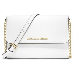 Women's Michael Michael Kors 'Jet Set - Large Phone' Saffiano Leather... ($168) ❤ liked on Polyvore featuring bags, handbags, shoulder bags, purses, bolsas, accessories, optic white, white crossbody handbags, white purse and handbags purses