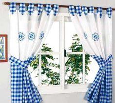 Blue and White checks. Cute Curtains, Crochet Curtains, Beautiful Curtains, Country Curtains, Drapes Curtains, Kitchen Window Valances, Kitchen Window Treatments, Kitchen Curtains, Rideaux Shabby Chic