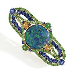 18k Gold, Platinum, Opal, Sapphire And Demantoid And Spessartite Garnet Brooch - Louis Comfort Tiffany, Tiffany & Co.   c. 1920