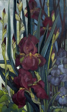 iris by elisabetta trevisan - tempera and watersoluble pencils on mdf