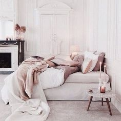 Dreamy neutral blush bedroom. Parisian architecture with Scandinavian inspired styling.