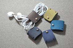 Leather Earphone holder - vegetable leather - earbud - cable holder - cable organizer - earphone organizer