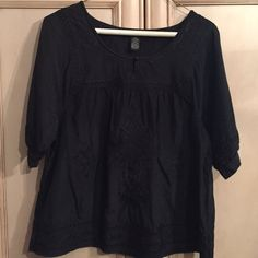 Lucky Brand top Dressy or casual Lucky Brand top. Color is black. Comfy and soft. Worn twice. Size small. 45% cotton 55% silk. Lucky Brand Tops