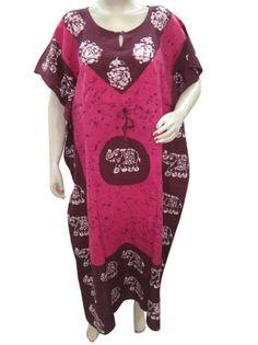Amazon.com: Bohemian Caftans Patio Dress , Pink Brown Printed Kaftan: Clothing