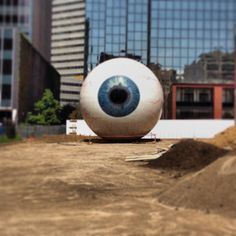 Under construction Public art installation in Dallas TX Big brother is watching you!!!!!!!!!