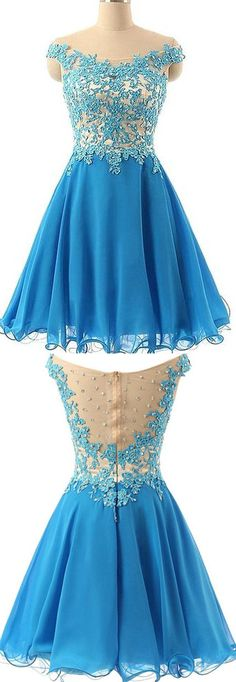 Tulle Homecoming Dress,Lace Homecoming Dress,Blue Homecoming Dress,Fitted Homecoming Dress,Short Prom Dress - 164
