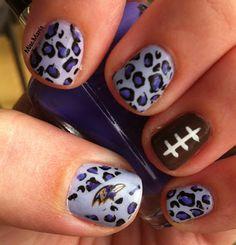 Miscellaneous Manicures: Baltimore Ravens Nails - Week 11 - Purple Cheetah Print