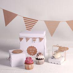caja para cupcakes clásica y transparente