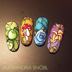 Stained glass nail art by @alexandrasnobl