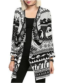 Black and white cardigan from <i>The Nightmare Before Christmas</i> with an allover intarsia knit design.