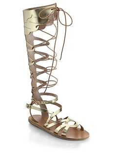 f948815bf6abdb Odyssey Metallic Leather Gladiator Sandals A gilded finish accentuates the  old-world appeal of leather sandals in a knee-high