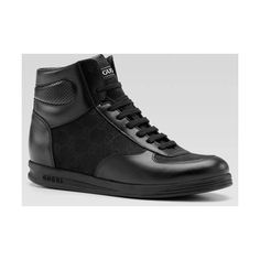 Gucci 'tennis 84′ high-top lace-up sneakers (black) found on Polyvore featuring polyvore, women's fashion, shoes, sneakers, black hi top sneakers, high-top sneakers, gucci high tops, gucci trainers and black high tops