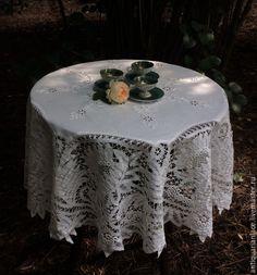 Купить Английская чайная скатерть. Баттенбергское кружево - белый, скатерть, предметы интерьера, винтаж, винтажный