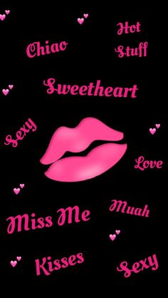 Pink and Black Love and Lips Wallpaper
