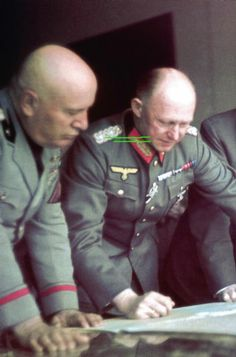 Benito Mussolini and Alfred Jodl discussing strategy. NS Allies and collaborators