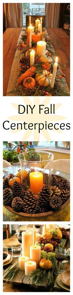 These DIY fall centerpieces and table decorations will make your home look more festive for autumn. DIY Home Decor #diy