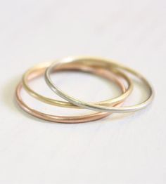 Skinny stacking rings in white, rose, or yellow gold