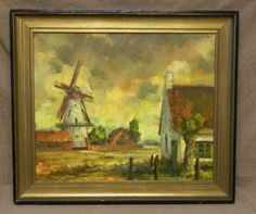 Antique Oil On Canvas Dutch Windmill Countryside Scene Old World