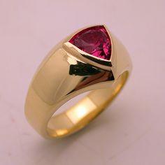Pink tourmaline @ 18 karat  Lost wax handmade gents ring