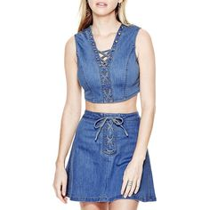 Guess Lace-Up Denim Top ($41) ❤ liked on Polyvore featuring tops, blue, sleeveless denim top, sleeveless tops, denim top, lace front top and laced tops