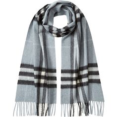 Burberry Shoes & Accessories Check Print Cashmere Scarf ($539) ❤ liked on Polyvore featuring accessories, scarves, teal, tartan scarves, teal shawl, cashmere shawl, burberry and tartan shawl