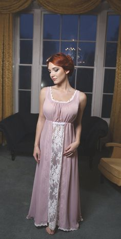 Sheer vintage pink chiffon ivory Chantilly lace gown by Boudemia