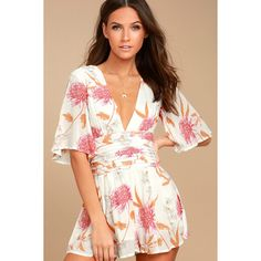 Day Dreamer White Floral Print Romper ($99) ❤ liked on Polyvore featuring jumpsuits, rompers, white, plunge neck romper, white floral romper, playsuit romper, white romper and plunging neckline romper