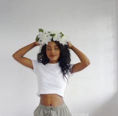 ugh! I love everything about this photo! I want the flower crown, the hair, tee, sweatpants, stomach, etc.... you get it lol everything #beauty