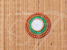 Kundan Rangoli Kolam Candle Holder India Decoration Designs Buy Now Design Candle Holders, Rangoli Kolam Designs, Stickers, Decoration, Gemstone Rings, India, Candles, Gemstones, Decor