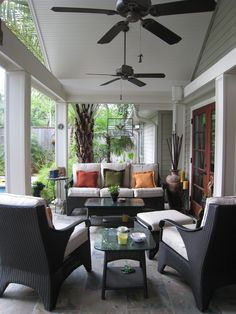Covered patio seating.. Change light fixture to ceiling fan... Hmmm