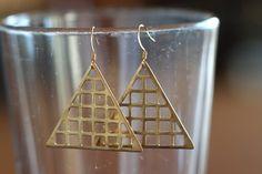 Brass Triangle Grid Earrings by @Moorea Seal on Etsy,
