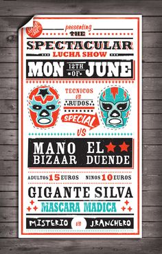 Lucha Libre Poster by Adam Montague, via Behance