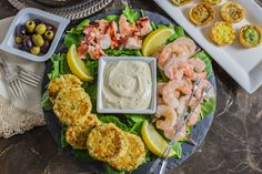 Make holiday entertaining easy and stress free with this semi-homemade Seafood Appetizer Platter with Homemade Mustard Sauce recipe.  An impressive and elegant appetizer spread that can be on the table in 30 minutes! https://yumgoggle.com/seafood-appetizer-platter-with-homemade-mustard-sauce/ Tasty Ever After
