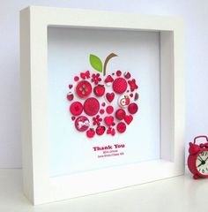 Personalised Thank You Teacher Button Apple Artwork #thankyougifts
