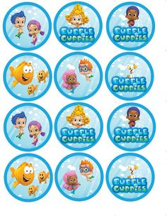 Bubble Guppies Cupcake Toppers Party Circles Digital Files Print as many as you need