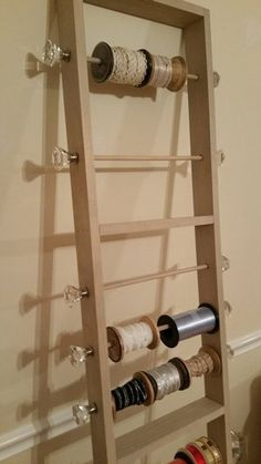 Your place to buy and sell all things handmade - Ribbon Holder Ladder by ElegantCraftWork on Etsy - Sewing Room Storage, Sewing Room Organization, Craft Room Storage, Shed Storage, Sewing Rooms, Diy Storage, Ladder Storage, Craft Rooms, Ribbon Organization