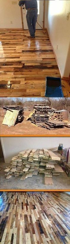 DIY Pallet Flooring - If we ever actually get it built, I would love to do this. Don't even need to stain it. Love the natural rustic look. (Diy Pallet Flag)