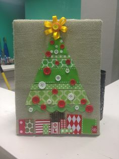 Oh Christmas Tree Crafts: Burlap & Ribbon Christmas Tree Christmas Tree Canvas, Christmas Crafts For Gifts, Christmas Love, Christmas Projects, Handmade Christmas, Christmas Holidays, Christmas Decorations, Christmas Ornaments, December Holidays