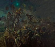 BBC - Your Paintings - Lieutenant John Cridlan Barrett, VC, 1/5th Battalion, Leicestershire Regiment during the Attack on Machine Guns in Forgan's Trench, 24 September 1918