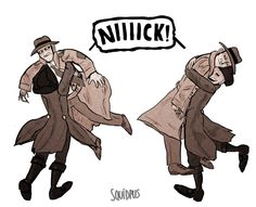 """squidpus: """"Nick rarely visits Goodneighbor so ofc Hancock is always happy to see him. """""""