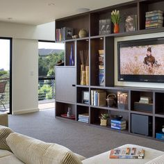 Contemporary Family Room Entertainment Center Design, Pictures, Remodel, Decor and Ideas