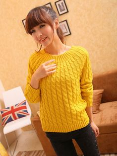 O-Neck Twisted Lantern Sleeve Pullover Sweaters