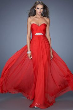 2014 Sweetheart Pleated And Fitted Bodice A Line Prom Dress With Long Chiffon Skirt Red