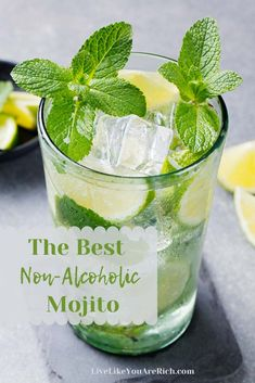 The Best Non-Alcoholic Mojito Recipe - - A virgin Mojito is a wonderful mixture of lime and mint—bubbling with sweetness. Fruit Drinks, Smoothie Drinks, Healthy Drinks, Healthy Mojito Recipe, Drinks Alcohol, Smoothies, Fancy Drinks, Cocktail Drinks, Cocktail Recipes