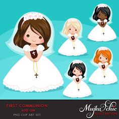 First Communion Clipart for Girls. Communion characters by MUJKA Première Communion, First Holy Communion, Communion Gifts, Holy Art, First Communion Invitations, Girl Clipart, Clip Art, Cute Characters, Logo Design Services