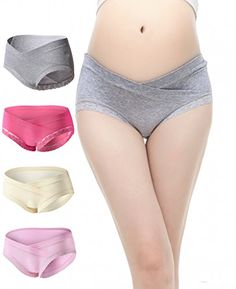 Uniwit®4 Pack Cotton Soft Maternity Pregnant Mother Panties Lingerie Briefs Low-Waist Underwear Underpants Feature: Low rise maternity panties featuring with moderate full coverage fit perfectly unde...