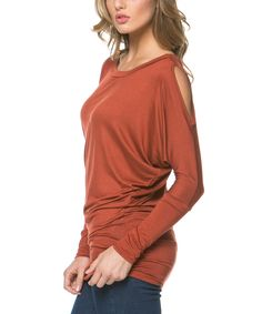 Another great find on #zulily! Serene Blue Rust Cutout Scoop Neck Top by Serene Blue #zulilyfinds