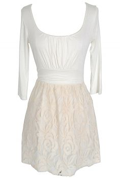 Elyse Three Quarter Sleeve Jersey and Lace Dress in Ivory-Lily Boutique