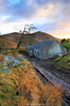 """myirishhome: """"'Once Upon a Time' Came across this old abandoned cottage whilst hiking in the Mourne Mountains, County Down, Northern Ireland, at sunset. A set of old hitching rails and a 'Fairy Thorn' sit outside it. The cottage was used recently for..."""