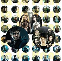 48 Harry Potter Digital Party Stickers Circles size 1'' and 1.5'' sheet A4 (8.5''x11'') Bottle Cap images Cupcake Toppers by LaLaPrint on Etsy